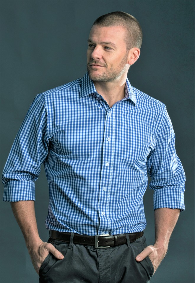 Photo of model wearing Luxe Tailored Navy and white Check Dress Shirt