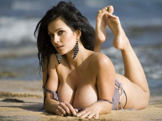 Denise Milani in Bikini on the Beach