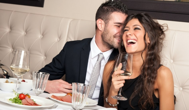 Couple dining out and having fun